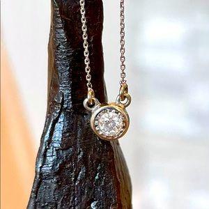 Diamond Bezel Set Necklace with Gold Plated Chain
